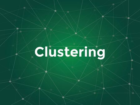 sectoral: clustering white text illustration with green constellation map as background