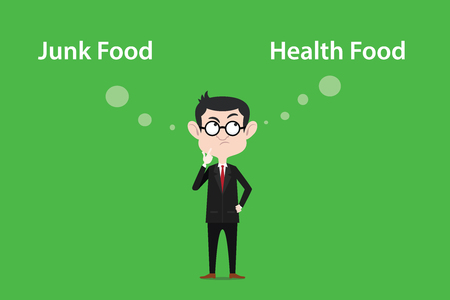 deep fried: Illustration of a man wearing spectacles confuse to make decision between eating junk food or health food. Illustration