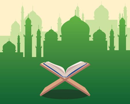 Illustration of Holy Qoran on wood table with green silhouette of a mosque with dome and towers as background.