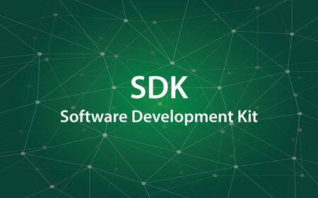 SDK Software Development Kit white tetx illustration with green constellation map as background. Illustration
