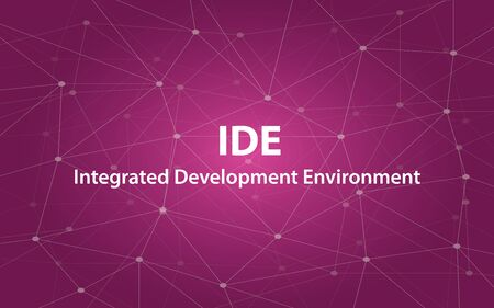 ide integrated development environment white text illustration with purple constellation map