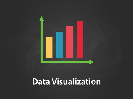 data visualization chart illustration with colourful bar, green arrow, white text and black background.
