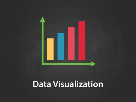 Ilustracja wykresu wizualizacji danych z kolorowym paskiem, zieloną strzałką, białym tekstem i czarnym tłem.