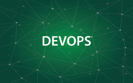 Devops white tetx illustration with green constellation map as background.