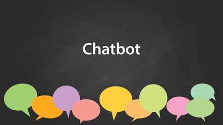talking robot: Chatbot white text illustration with colourful callouts and black background.