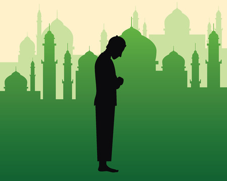 Moslem praying sholat illustration with black silhouette of a man doing pray and green silhouette of mosque with dome and towers as background