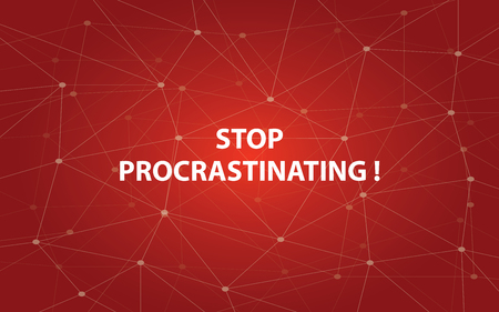 suspend: Stop procrastinating white tetx illustration with red constellation map as background