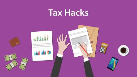 signing papers: illustration of counting tax hacks with paperworks, calculator and money on top of table and purple background Illustration