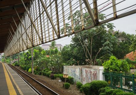 Widok od stacji Depok do przodu do zielonego krajobrazu z drzewami torfowiska i krzewów zdjęcie zrobione w Depok Indonezji Zdjęcie Seryjne