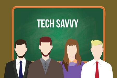 Tech savvy concept illustration with business team aligning together in front of blackboard