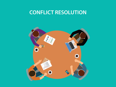Conflict resolution illustration with four people discuss on table.