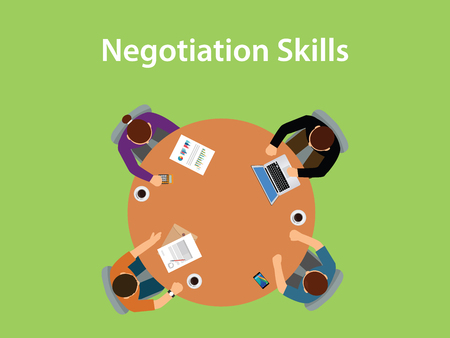 to compromise: negotiation skills illustration with four people discuss in one table with paperworks, coffee and laptop on top of table Illustration