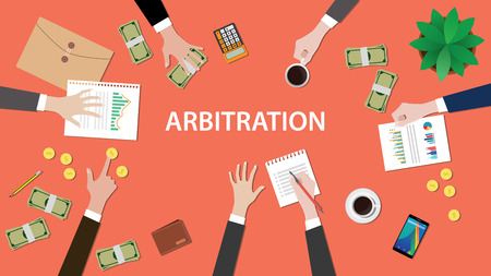 arbitration concept illustration with people discuss in a meeting with paperworks, money, coins and folder document on top of table
