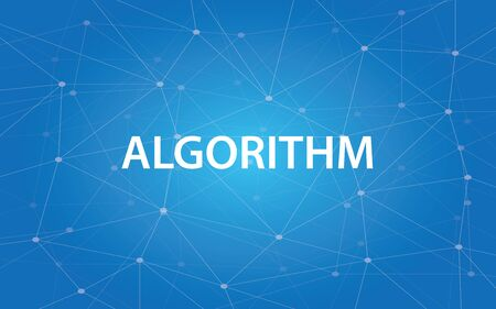 decoding: algorithm white text illustration with blue constellation as background