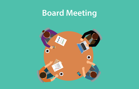 ceo office: board meeting illustration with for people meeting on a table with paperworks on top of the table Illustration