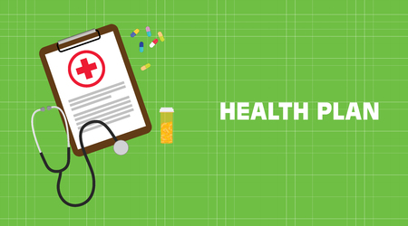 Health plan illustration with paperwork on clip board, a stethoscope, capsules and vitamin tube with green background Illustration