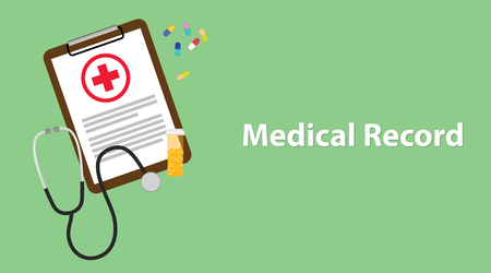 Medical record illustration with paperwork on clip board, a stethoscope, capsules and vitamin tube