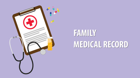 clip art cost: Family medical record illustration with paperwork on clip board, a stethoscope, capsules and vitamin tube