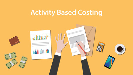 clip art cost: Activity based costing illustration with a man writing on paperwork with money, calculator and folder document on top of table