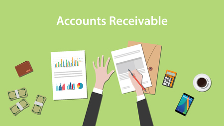 receivable: Accounts receivable illustration with a man writing on paperwork with money, calculator and folder document on top of table Illustration
