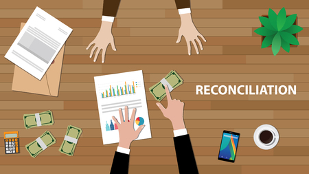 Reconciliation white text illustration with two people discussion with money, paperworks and folder document on top of wood table