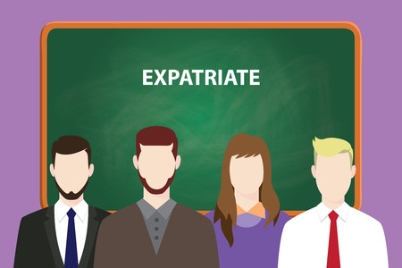 Expatriate white text on green chalk board illustration with four people standing in front of the chalk board