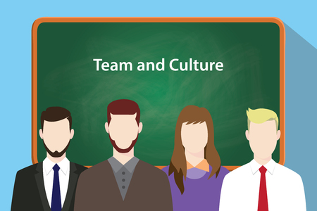 modesty: Team and culture white text on green chalkboard illustration with four people standing in front of the chalkboard vector
