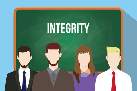 faithfulness: Integrity white text on green chalkboard illustration with four people standing in front of the chalkboard vector Illustration
