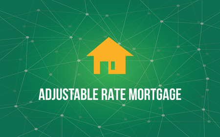 mortgage rates: Adjustable rate mortgage white text illustration with yellow house silhouette and green constellation as background vector