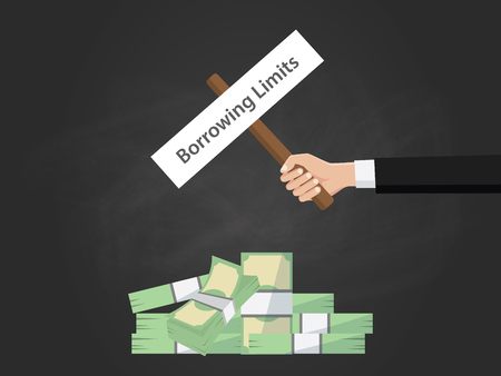 borrowing money: Borrowing limit text on a board near with heap of money and black background vector