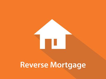 Omgekeerde hypotheek witte tekst afbeelding met een witte huis silhouet en oranje achtergrond vector Stock Illustratie