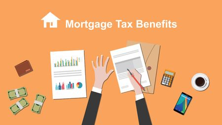 clip art cost: Illustration of people counting Mortgage tax benefit on a paperwork with money, folder document on top of table vector