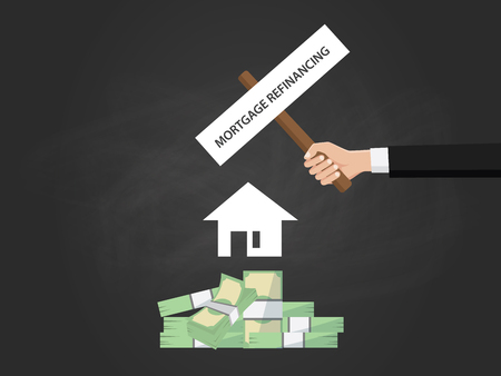 refinancing: Mortgage refinancing text on a board near with heap of money , white house silhouette and black background vector