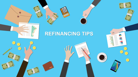 refinancing: Illustration of Refinancing tips discussion situation in a meeting with paperworks, money and coins on top of table vector