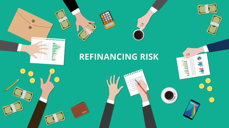 Illustration of Refinancing risk discussion situation in a meeting with paperworks, money and coins on top of table vector