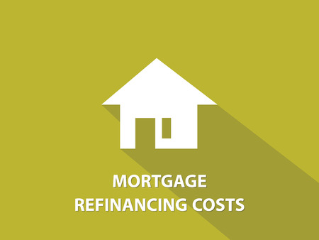 refinancing: Mortgage refinancing costs white text illustration with white house silhouette and yellow background vector