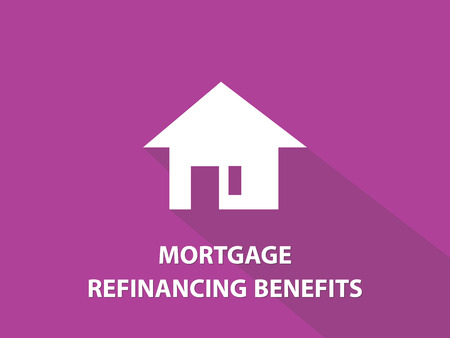 refinancing: Mortgage refinancing benefits white text illustration with white house silhouette and purple background vector