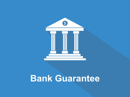 guarantor: Bank guarantee white text with bank office building illustration and blue background vector.