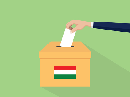 hungary election vote concept illustration with people voter hand gives votes insert to boxes election with long shadow flat style Illustration
