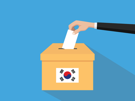 korea election vote concept illustration with people voter hand gives votes insert to boxes election with long shadow flat style