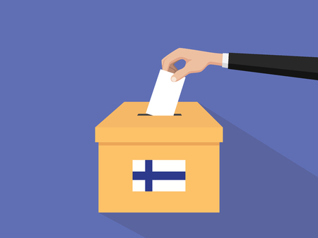 finland election vote concept illustration with people voter hand gives votes insert to boxes election with long shadow flat style