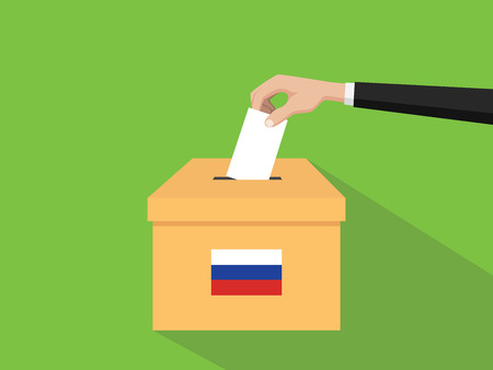 russia vote election concept illustration with people voter hand gives votes insert to boxes election with long shadow flat style