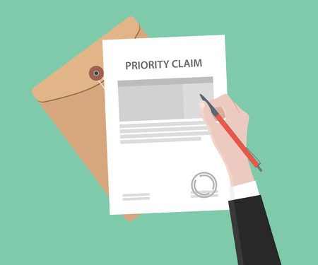 illustration d'un homme signant la lettre de revendication de priorité estampillée à l'aide d'un stylo rouge avec document dossier et fond vert