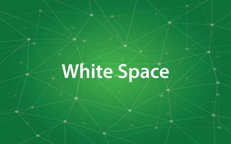 spacing: Illustration text white space in design and typography with constellation and green background