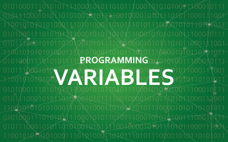 Programming variables white text illustration with green constellation map as background