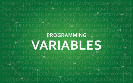 Programowanie zmiennych biały tekst ilustracja z zieloną mapą konstelacji jako tło Ilustracje wektorowe
