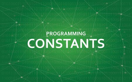 syntax: Programming constants white text illustration with green constellation map as background