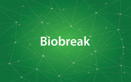 Biobreak white text illustration with green constellation as background