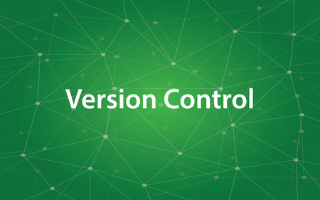 Version control white text illustration with green constellation as background Çizim