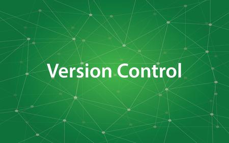 Weiße Textillustration der Versionskontrolle mit grüner Konstellation als Hintergrund